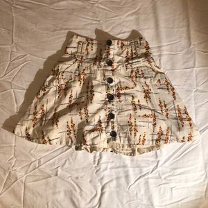 Free People Floral Linen Button Down Skirt XS